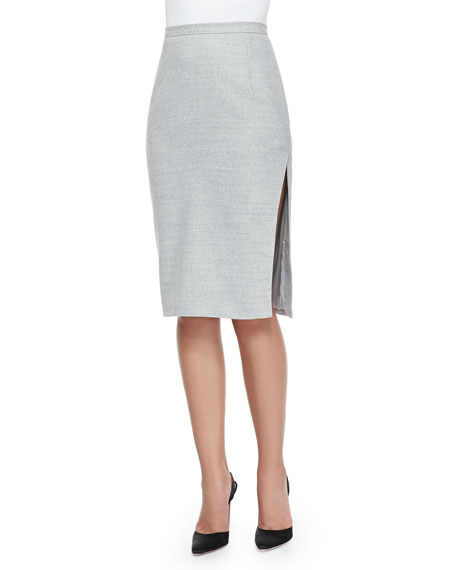 Asymmetric-Slit Iconic Pencil Skirt, Gray