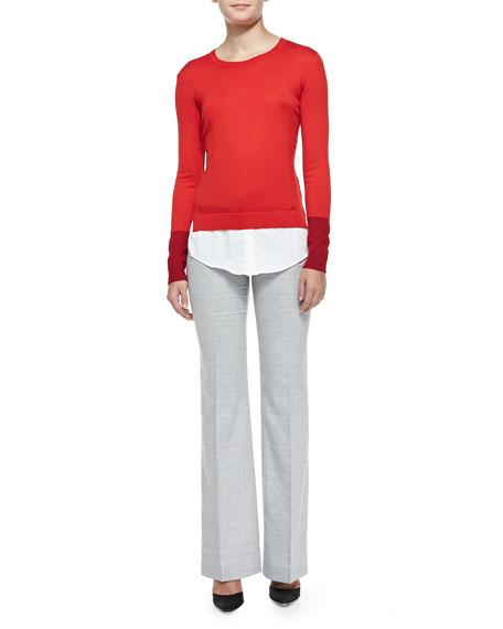 Slim Lightweight Wool Pants, Gray