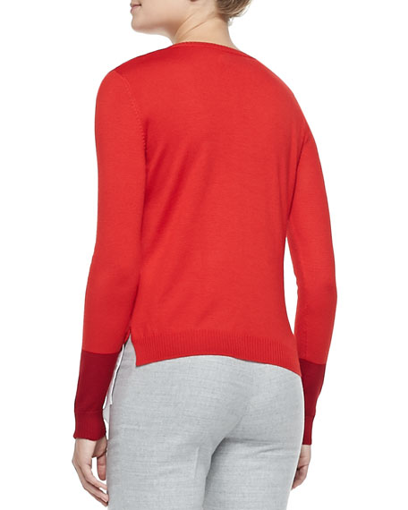 Wool Layered-Tail Crewneck Sweater