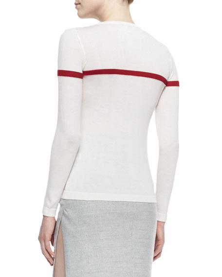 Long-Sleeve French Fireman Wool Sweater, Ivory