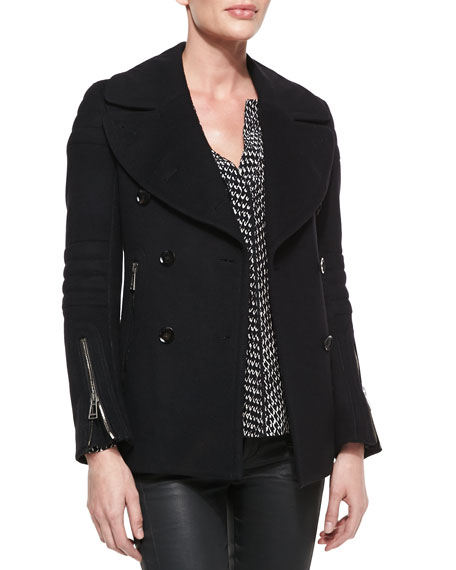 Wool Cashmere Moto Peacoat