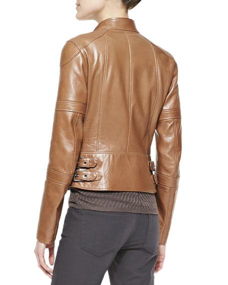Napa Leather Zip Moto Jacket