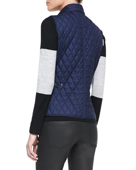 Diamond-Quilted Snap Vest