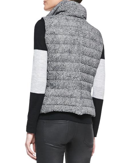 Tweed-Print Snap Puffer Vest