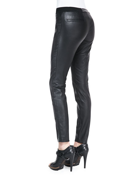 Zip-Pocket Pull-On Leather Pants