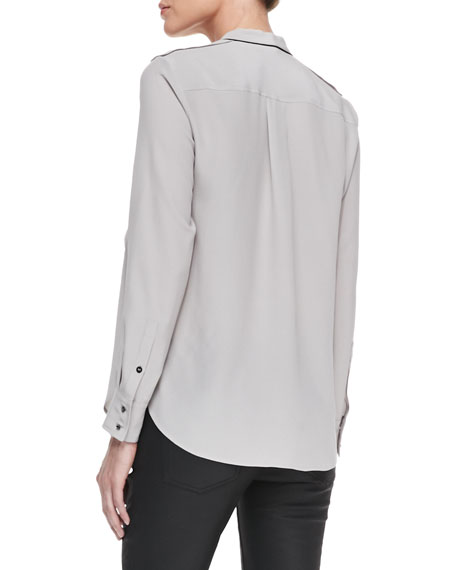 Washed Piped Pocket Blouse