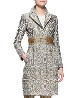 Etro Three-Snap Jacquard Princess Topper Jacket
