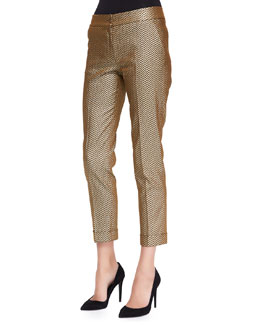 Etro Stretch Metallic Herringbone Cuffed Pants