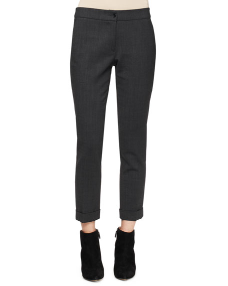 Serged Front Zip-Cuff Capri Pants, Charcoal