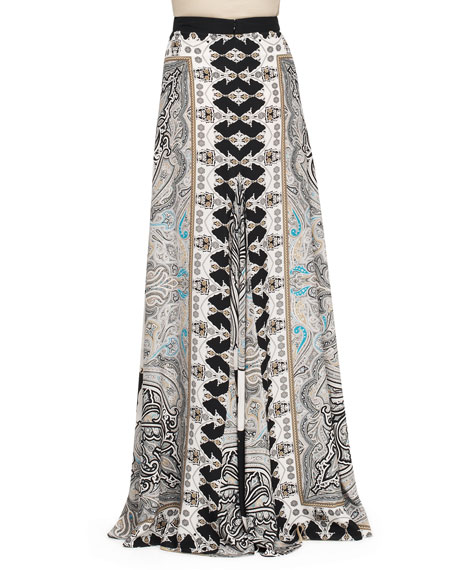 Printed Double-Vent Maxi Skirt