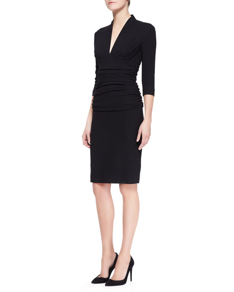3/4-Sleeve Fitted Ruched-Waist Dress