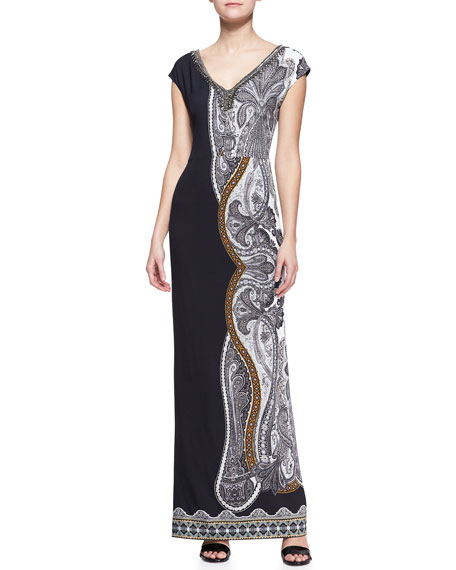 Cap-Sleeve Beaded-Neck Maxi Dress With Printed Half