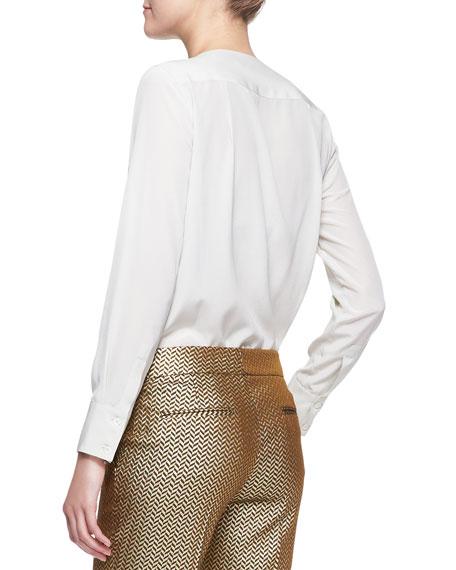Long-Sleeve 3D Beaded Bib-Front Blouse