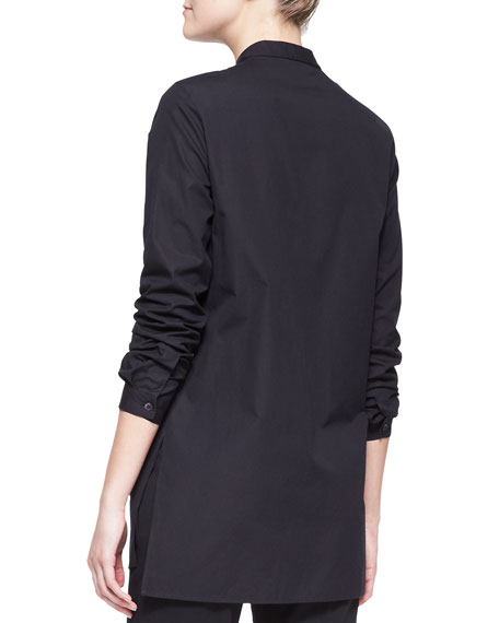 Long-Sleeve Beaded-Placket Tunic Blouse