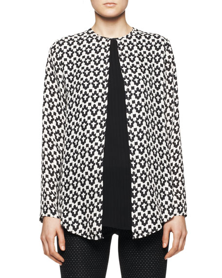 Long-Sleeve Inverted Geo-Print Blouse with Solid Center