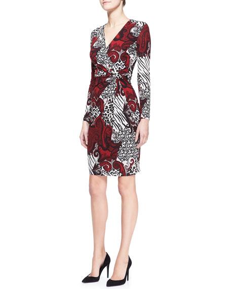 Long-Sleeve V-Neck Animal Paisley Dress, Red