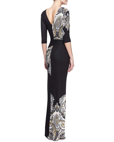 Half-Sleeve Pattern-Block Paisley Maxi Dress