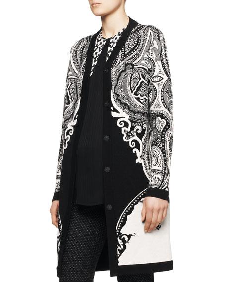Intarsia-Knit Paisley Duster Coat
