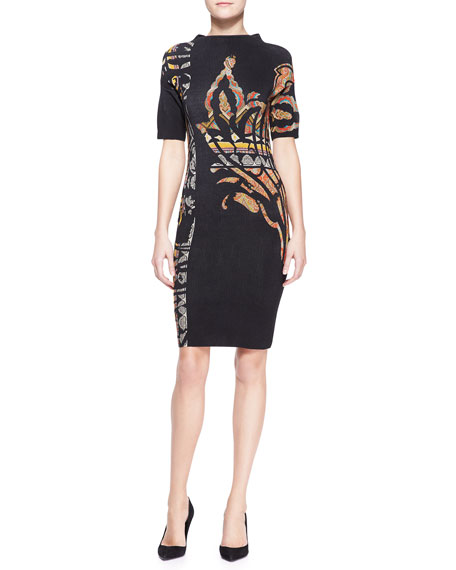 Mock-Neck Stencil-Printed Paisley Dress