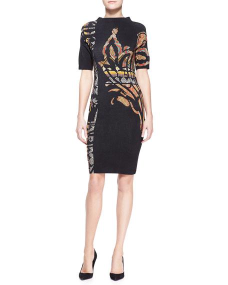Mock-Neck Stencil-Printed Paisley Dress