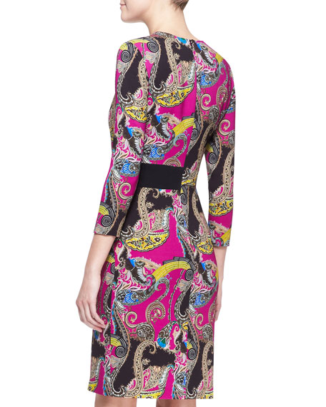 Long-Sleeve Paisley Cady Dress, Pink