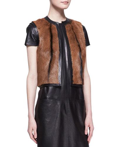 Ralph Lauren Black Label Fur Ellery Vest, Almond