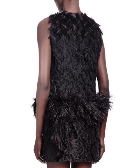 Sleeveless Frayed Fil Coupe Ostrich Feather-Trim Dress, Black