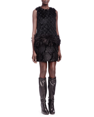 Lanvin Sleeveless Frayed Fil Coupe Ostrich Feather-Trim Dress, Black