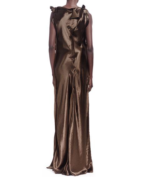Silk Raw-Edge Seamed Sleeveless Gown