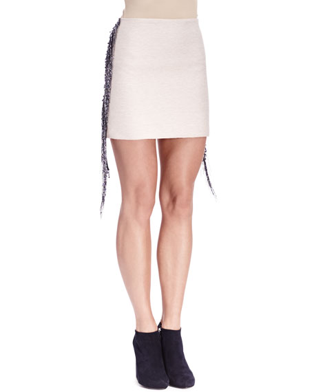 Fringe & Bead-Trim Slim Skirt