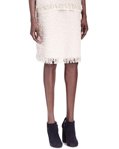Fringe-Bottom Tweed Skirt