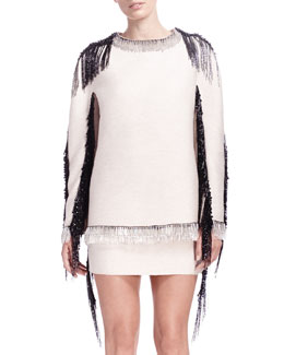 Lanvin Fringe & Bead-Trim Long-Sleeve Sweatshirt