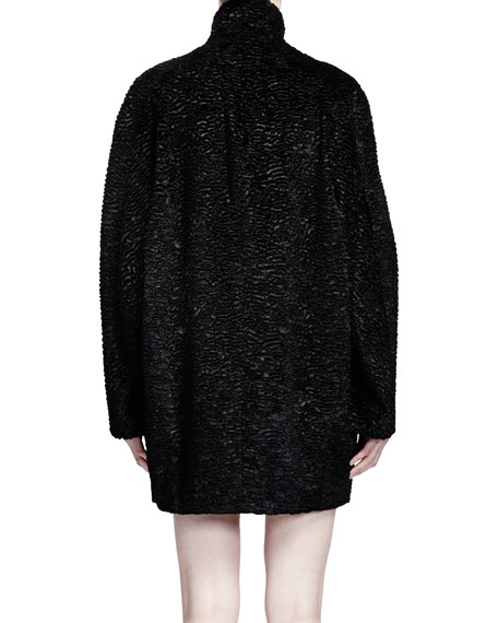 Stand Collar Cocoon Coat, Black