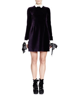 Alexander McQueen Velvet Contrast-Trim Long-Sleeve Dress
