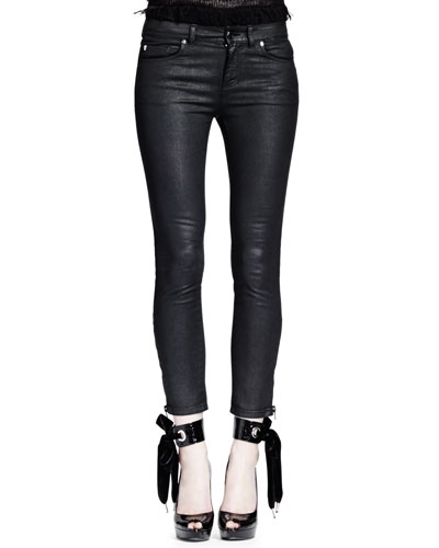 Waxed Cotton Zipper Detail Jeans, Black