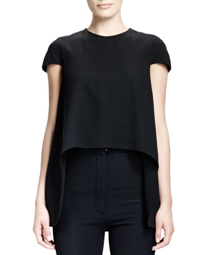 Alexander McQueen Satin Cap-Sleeve High-Low Top