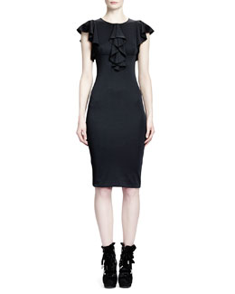 Alexander McQueen Jersey Waterfall-Front Cap-Sleeve Dress