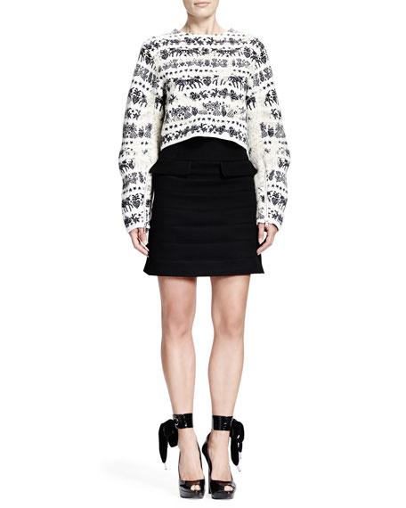 Horizontal Seam Scuba Weave Skirt, Black