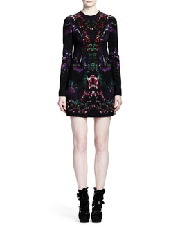 Alexander McQueen Long Sleeve Feather-Print Shift Dress, Multicolor