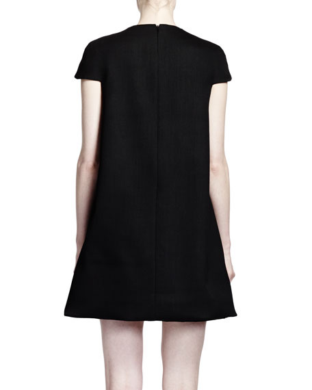 Cap-Sleeve Trapeze Dress with Neckline Stars, Black