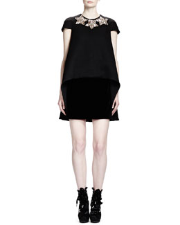 Alexander McQueen Cap-Sleeve Trapeze Dress with Neckline Stars, Black