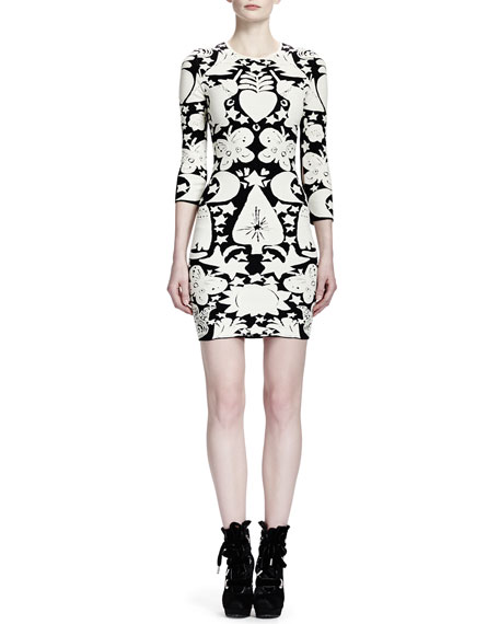 3/4-Sleeve Fairy Tale-Print Sheath Dress, Black/White
