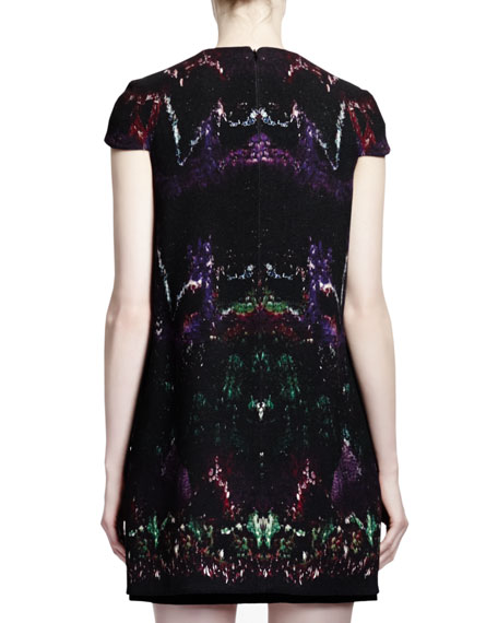 Feather-Print Wool & Velvet Cap-Sleeve Dress