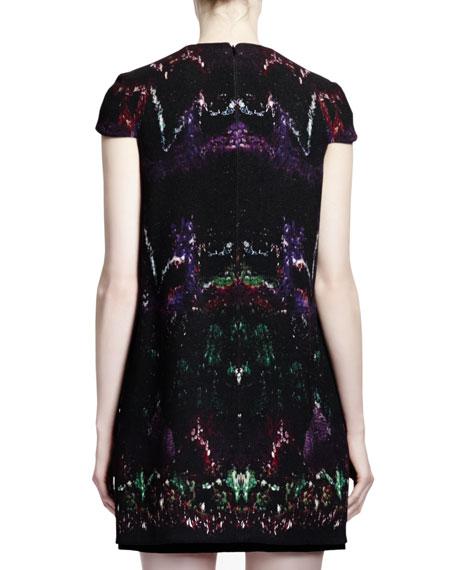 Feather-Print Wool & Velvet Cap-Sleeve Dress