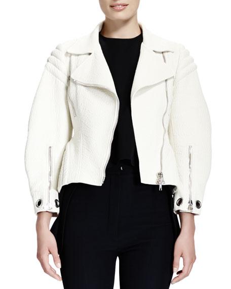 Soft-Grain Leather Zip Moto Jacket
