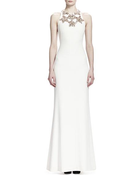 Alexander McQueen Sleeveless Star Bodice Gown, Vanilla
