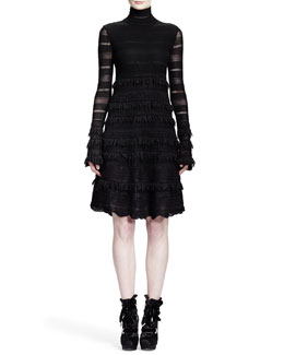 Alexander McQueen Sheer Patchwork-Lace Stripe Dress