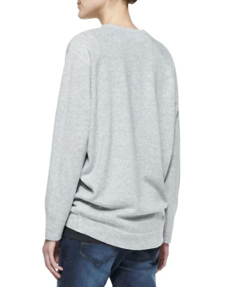 Long-Sleeve Deep-V Sweater with Sequin Shoulder