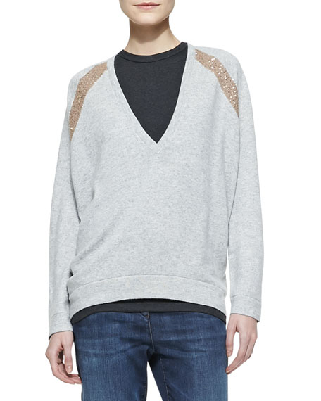Long-Sleeve Deep-V Sweater with Sequin Shoulder