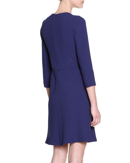 3/4-Sleeve Cady Dress with Studs